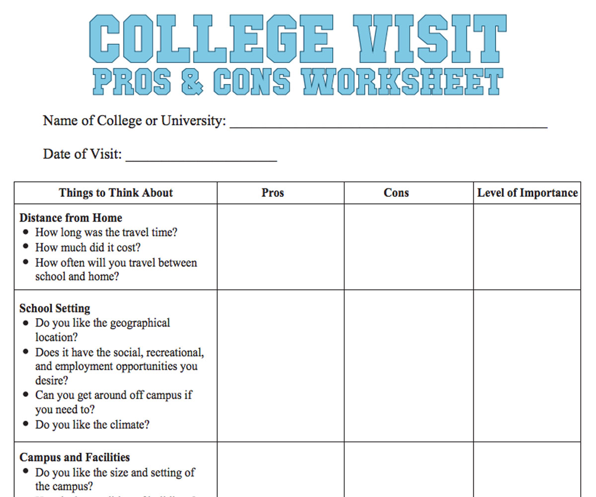 Worksheets College Cost Worksheet college visit checklist worksheet familyeducation