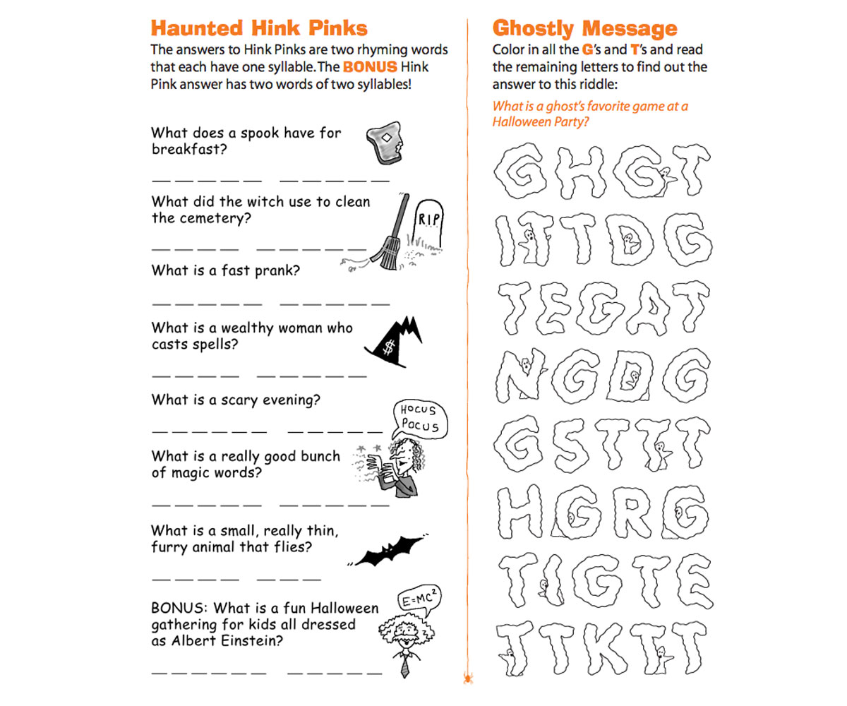 Worksheets Hink Pink Worksheets halloween riddles printable familyeducation
