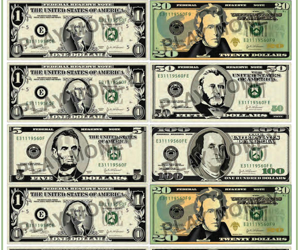 Accomplished image with printable fake money