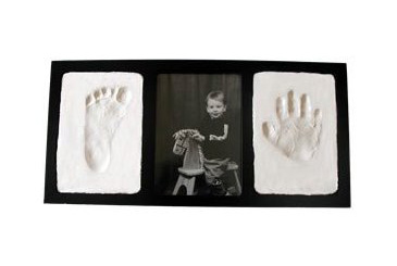 """First Fathers Day gift ideas, baby handprint footprint frame. """""""