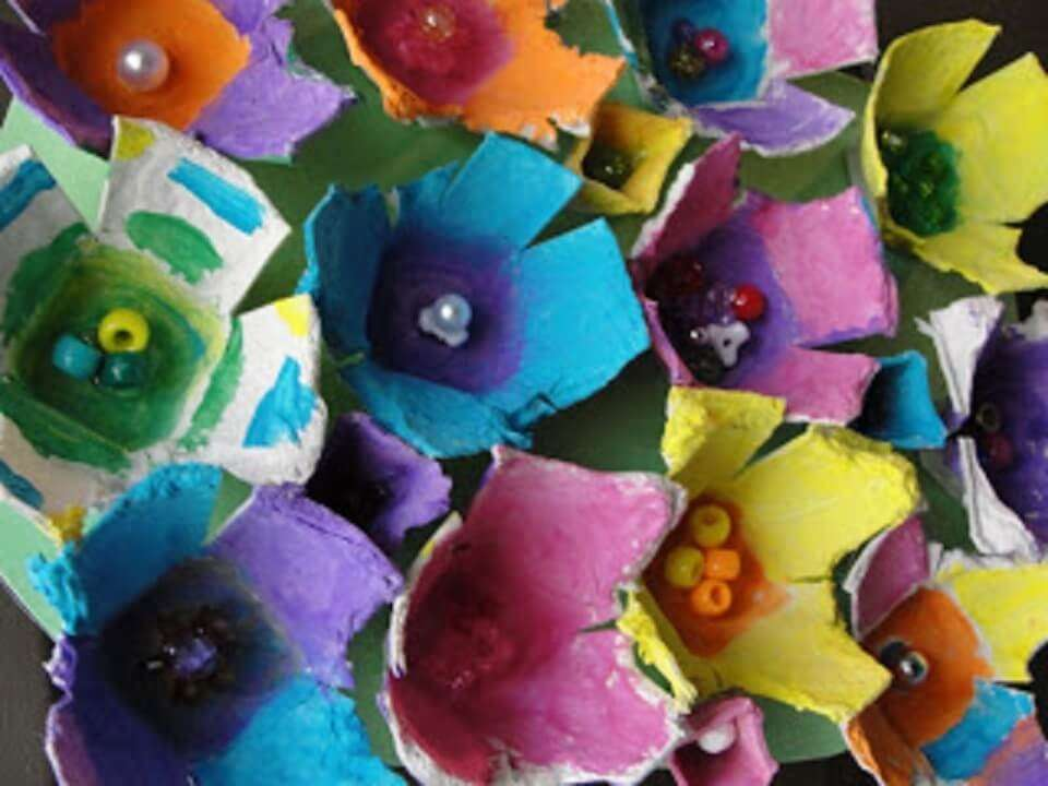 Egg Carton Flowers Spring Craft