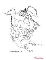 Lovely Blank Black And White Map Of North America   U.S., Canada, Mexico