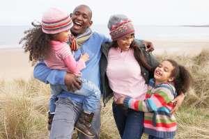 Healthy Family Taking Walk Outside