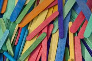 Pile of Colored Craft Sticks