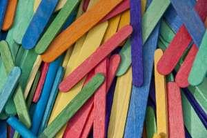 Pile of Colored Craft Sticks