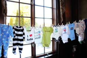 Hanging baby clothes - one of your typical baby shower games