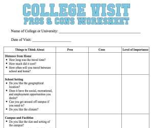 College Visit Worksheet