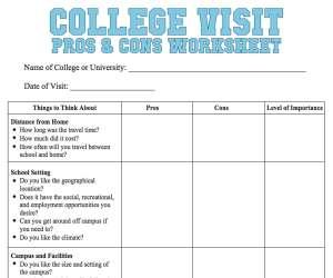 College Visit Worksheet