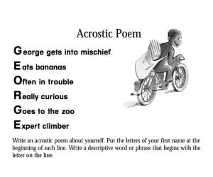 Curious George Acrostic Poem
