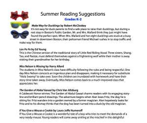 Summer Reading Guide K-2