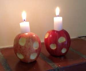 Rosh Hashanah Apple Candlesticks Craft
