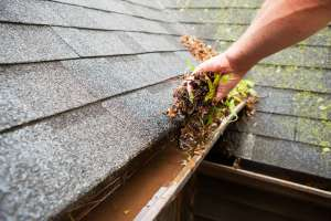 cleaning the gutters for spring