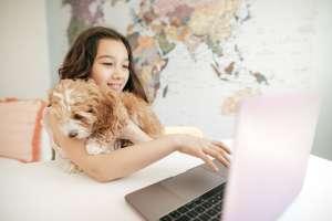 homeschooled girl works on school assignments