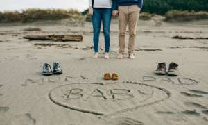 baby name announcement on beach