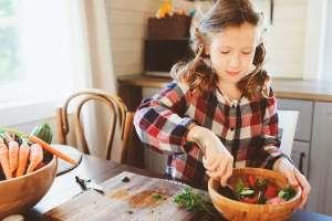 child eating vegan meal