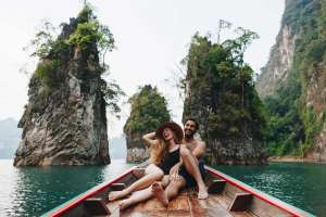 couple on a kids free vacation