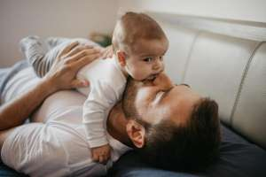 baby boy with father