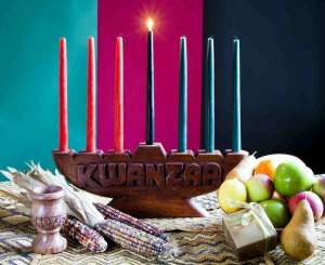 kwanzaa decorations on table