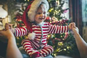 one-year-old on Christmas