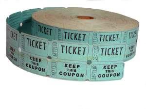 Fundraising ideas, roll of blue raffle tickets
