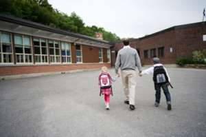 Fatherwalkingkidstoschool
