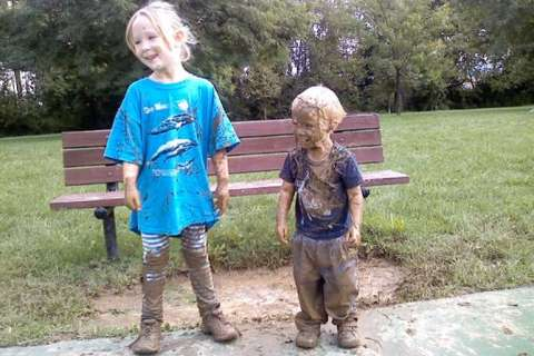 Kids Covered in Mud