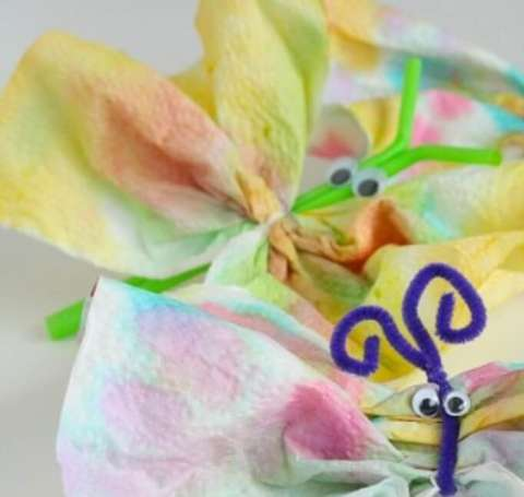 Paper Towel Butterflies Spring Craft