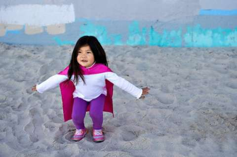 National Super Hero Day Little Girl Wearing Pink Cape