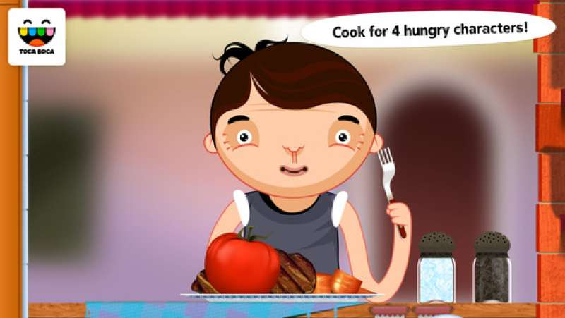 Toca Kitchen is a free educational app that lets you play with food