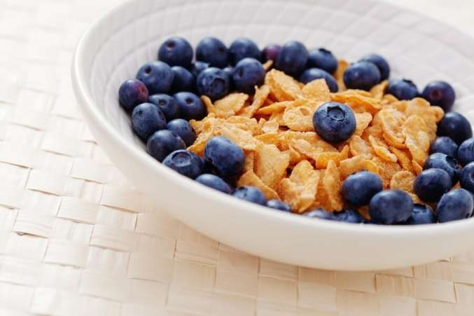 Bowl of Cereal with Blueberries