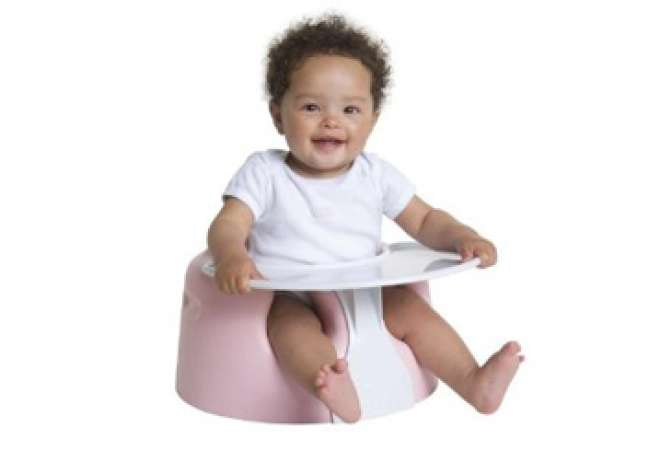 baby gifts for twins, baby in Bumbo seat with tray
