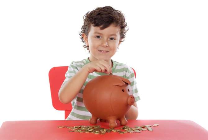 Child Saving Money, Piggy Bank
