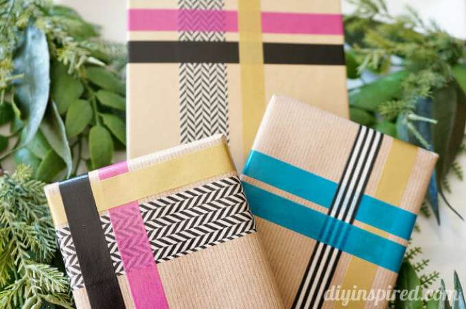 Homemade Washi Tape Wrapping Paper