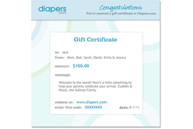 baby gifts for twins, diapers gift card
