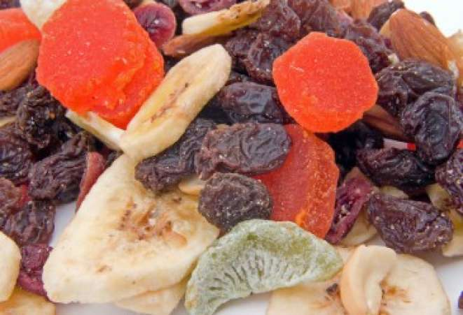 Closeup of dried fruit and nut mixture.
