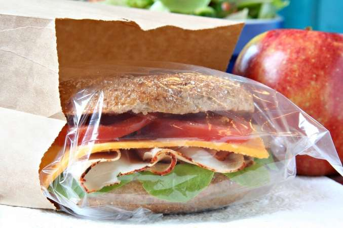 Sandwich and healthy brown bag lunch