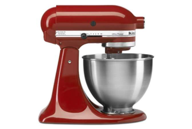 Made in the USA, red KitchenAid Artisan stand mixer