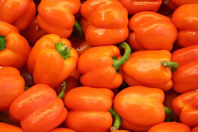 Close up of all orange bell peppers