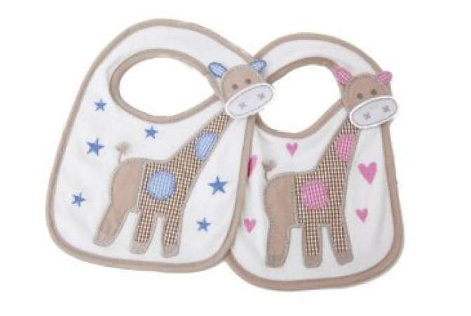 baby gifts for twins, pink and blue giraffe bibs