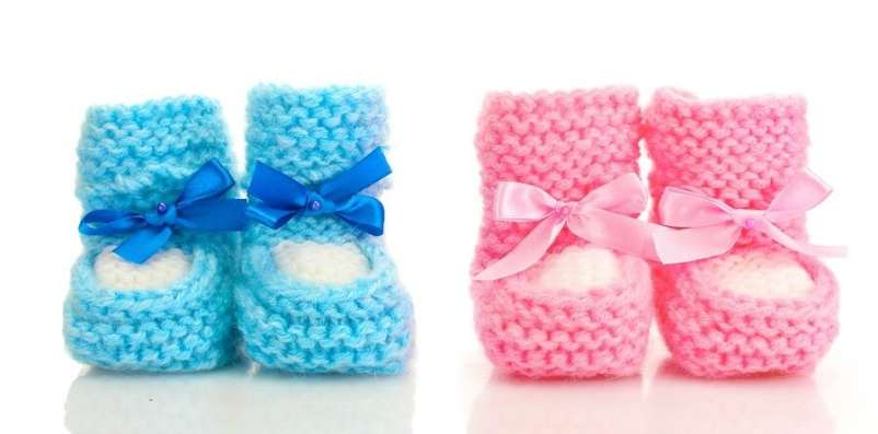 Pink and blue knit booties against white background