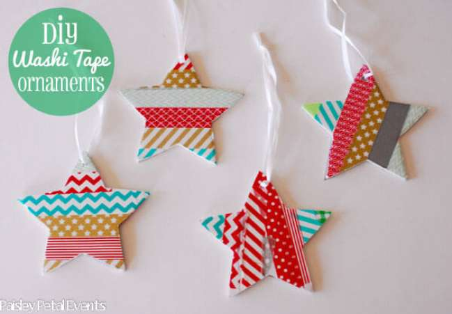 Washi Tape Star and Heart Ornaments