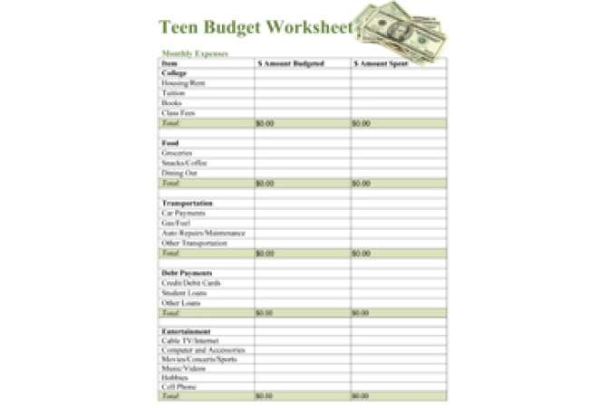 Free Printable Budget Worksheet for Teens