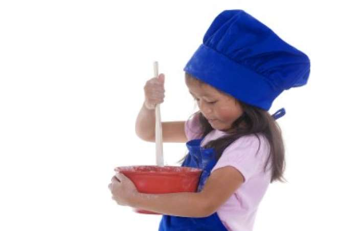 KidsintheKitchen,YoungGirlStirring,StirringIngredients