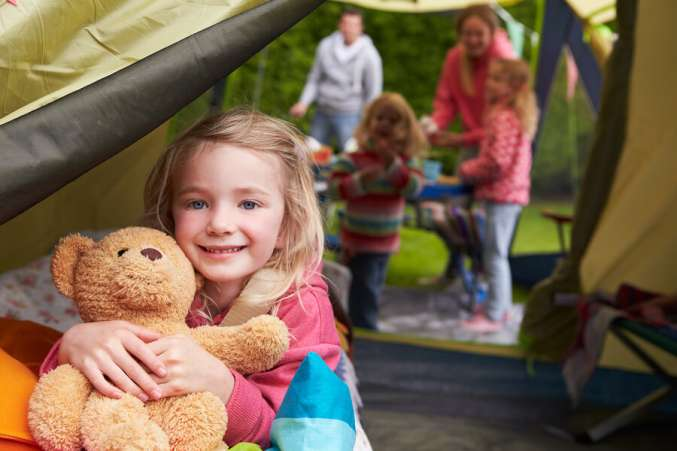 girl backyard camping