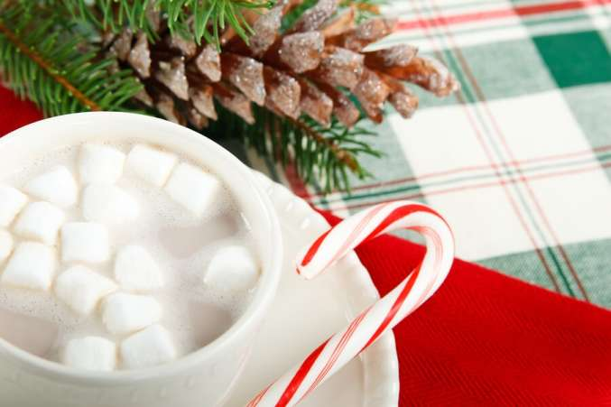 traditional christmas activity, hot chocolate with marshmallows