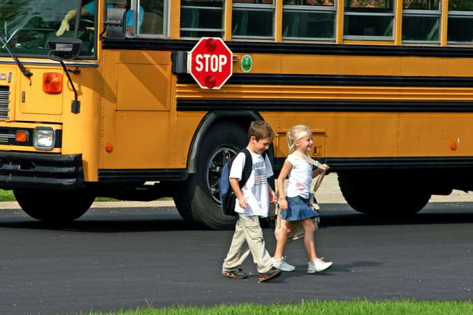 school resolution, kids get off the bus