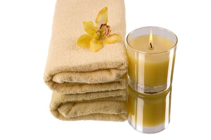 Mothers Day gift, spa candle and bath towel