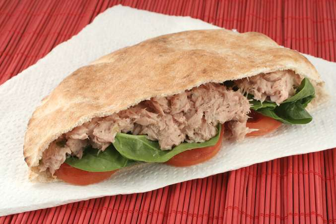 Nut-free lunch ideas, tunafish in pita bread as nut-free lunch