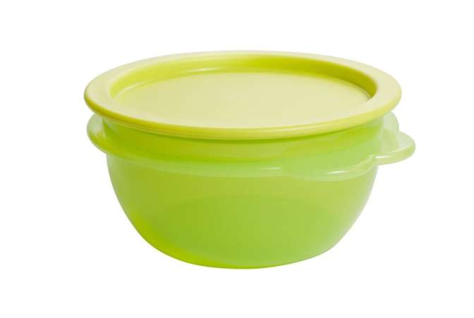 Fundraising ideas, green plastic Tupperware storage bowl