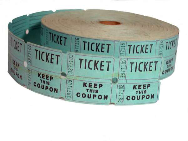 Fundraising ideas, roll of blue raffle tickets